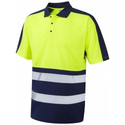 Leo Workwear P10-YNV Watersmeet Coolviz Plus Hi Vis Yellow/Navy Polo shirt